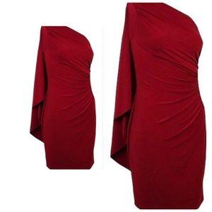 Ralph Ralph Lauren size 2 red dress cape off shldr